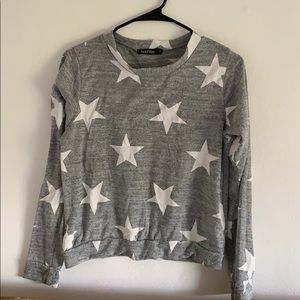 Grey and white star sweater